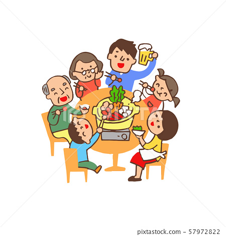 Family surrounding a pot at the dining table 57972822