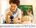 Pleased brunette kid looking through the microscope 57973261