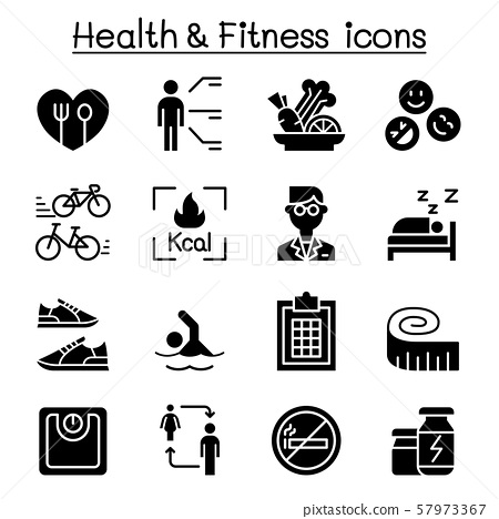 Heath, Fitness, Diet icon set vector illustration 57973367