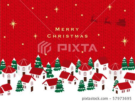 圣诞老人和圣诞小镇针织纹理 57973695