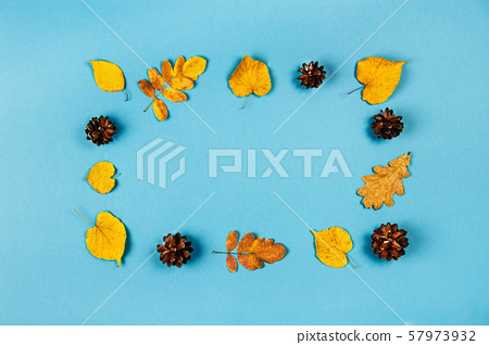 Autumn frame of pine cones and yellow leaves. 57973932