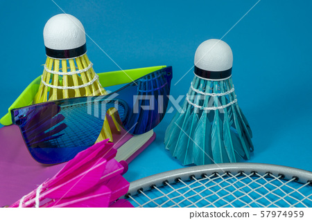Colorful badminton shuttlecocks with sunglasses 57974959