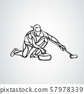 Curling athlete isolated vector silhouette. Curler vector 57978339