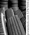 Stacks of old used tires 57979361