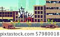 Zombie apocalypse in city cartoon vector concept 57980018