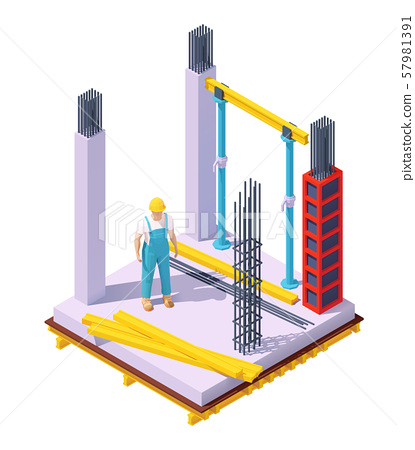 Vector isometric concrete building construction 57981391