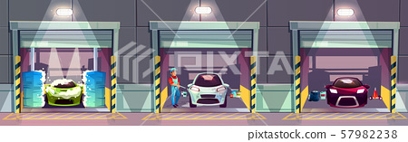 Car wash business services cartoon concept 57982238