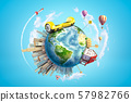 3d rendering of Earth in blue sky, with one-storey house, skyscraper city and yellow self-balancing 57982766