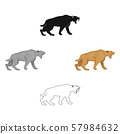 Saber-toothed tiger icon in cartoon,black style isolated on white background. Stone age symbol stock 57984632