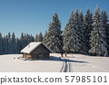 People near snow covered wood  hut. Frosted forest 57985101