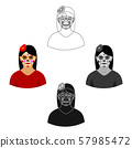 Mexican woman with calavera make up icon in cartoon,black style isolated on white background. Mexico 57985472