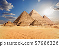 The Pyramids of Giza in the clouds, Cairo, Egypt 57986326