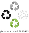 Green recycling sign icon in outline style isolated on white background. Bio and ecology symbol 57986613