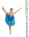 Kid blue dress with ballet skirt white background 57987407