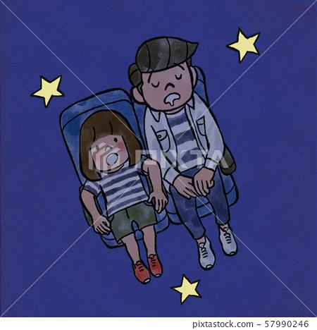 Parent and child watching the planetarium 57990246