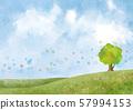 초원 : 언덕 대지 녹색 풍경 푸른 하늘 하늘 자연 배경 수채화 손으로 그린 푸른 하늘 하늘 대목 나무 나무 57994153