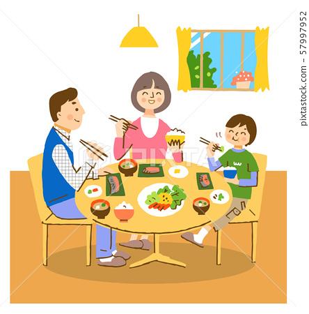 一家三口吃早餐帶著微笑 57997952
