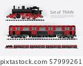 Cargo train on a rail road Vector illustration 57999261