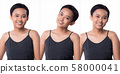 Fashion Asian Woman Tan skin black hair eyes 58000041