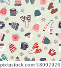Winter time warm clothes cookies and mugs seamless vector pattern. Hand drawn doodle elements warm 58002920
