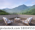 Morning mountain view on a wooden balcony 3d render 58004550
