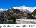 Tateyama snow view from Lake Kurobe 58004921