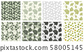 Japanese Patterns Collection with Gingko Biloba Plant Leaves. Vector Botanical and Healthy Textures 58005145
