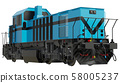 Freight train locomotive. Isolated white background. 3d rendering 58005237