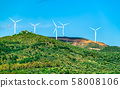 Wind turbines at the Gulf of Patras in Greece 58008106