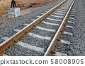 Steel support rails with concrete sleepers strewn 58008905