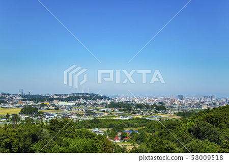 View of the city from the suburbs of Sendai 58009518