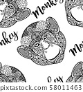 Monkey head seamless pattern with text 58011463