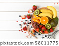 Mixed fresh fruit salad with strawberry with 58011775