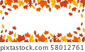 autumn orange and yellow falling leaves on white background 58012761