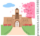 University and cherry blossom 58014986