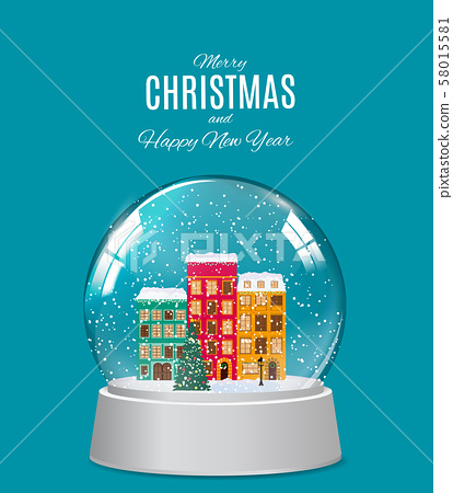 Snow glass globe with little town in winter for 58015581