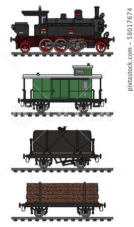 The vintage freight steam train 58017674