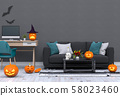 3D render Halloween party in living room with pumpkins, jack-o-lantern 58023460