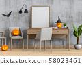 Halloween poster mock up in living room and pumpkins, jack-o-lantern. 3D render 58023461