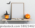 Halloween poster mock up in studio room and pumpkins, jack-o-lantern. 3D render 58023462