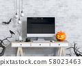 Halloween party interior living room with desktop computer and pumpkins. 3D render 58023463