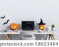 Halloween party interior living room with laptop computer and pumpkins. 3D render 58023464