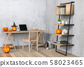 3D render Halloween party in living room with pumpkins, jack-o-lantern 58023465