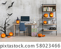 Halloween party interior living room with desktop computer and pumpkins. 3D render 58023466