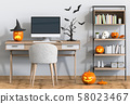 Halloween party interior living room with desktop computer and pumpkins. 3D render 58023467