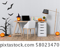 3D render Halloween party in living room with pumpkins, jack-o-lantern 58023470