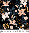 Lily flower seamless pattern on black background 58024216
