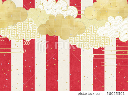 Japanese paper texture-Red and White curtain-Japan-New Year-Gold leaf-Cloud-Confetti 58025501
