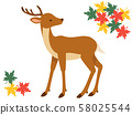 Illustration of deer and autumn leaves (simple) 58025544