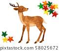 사슴과 단풍의 수채화 풍 일러스트 58025672